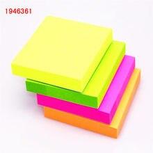 100 folhas 1 cor 76*76mm tamanho cor papel memo, almofada pegajosa notas, marcador de página it memo adesivo de escritório, material escolar