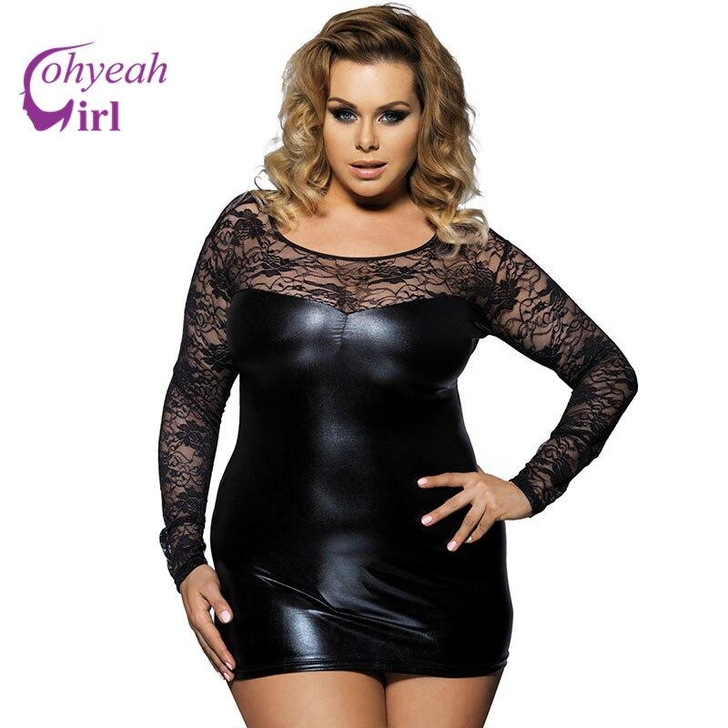 RW7393 Hot sale faux leather erotische lingerie black lace plus size sexy lingerie patchwork bodycone babydoll sexy lingerie plus size women in leather