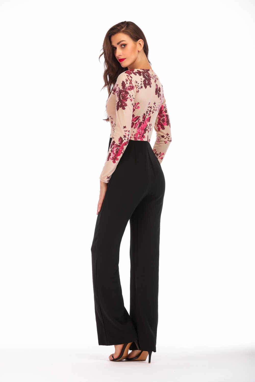 044f16135b ... Sexy Sequins Patchwork rompers womens jumpsuit 2018 bodysuit women  Summer Elegant long sleeves V neck Party ...