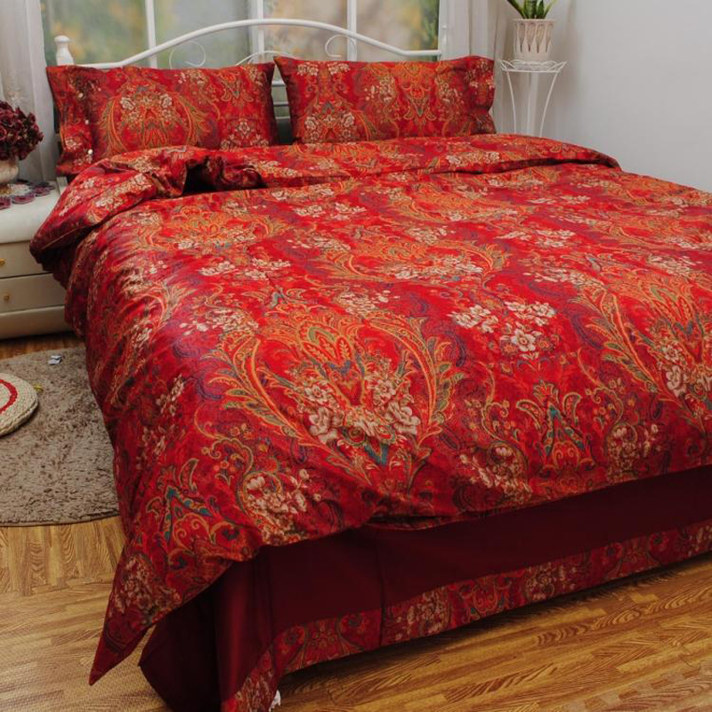 Wedding Gifts Red Cotton Bed Sets Luxury Bedding Set 4pcs Soft Warm Duvet Quilt Cover Set