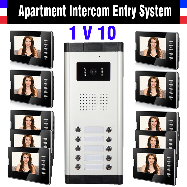 10 Units Apartment Intercom System 7 Inch Monitor Video Intercom Doorbell Door Phone System Apartment Intercom Kit for 10 house apartment intercom system 7 inch monitor 12 units apartment video door phone intercom system video doorbell doorphones kit
