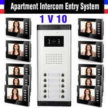 10 Units Apartment Intercom System 7 Inch Monitor Video Intercom Doorbell Door Phone System Apartment Intercom Kit for 10 house