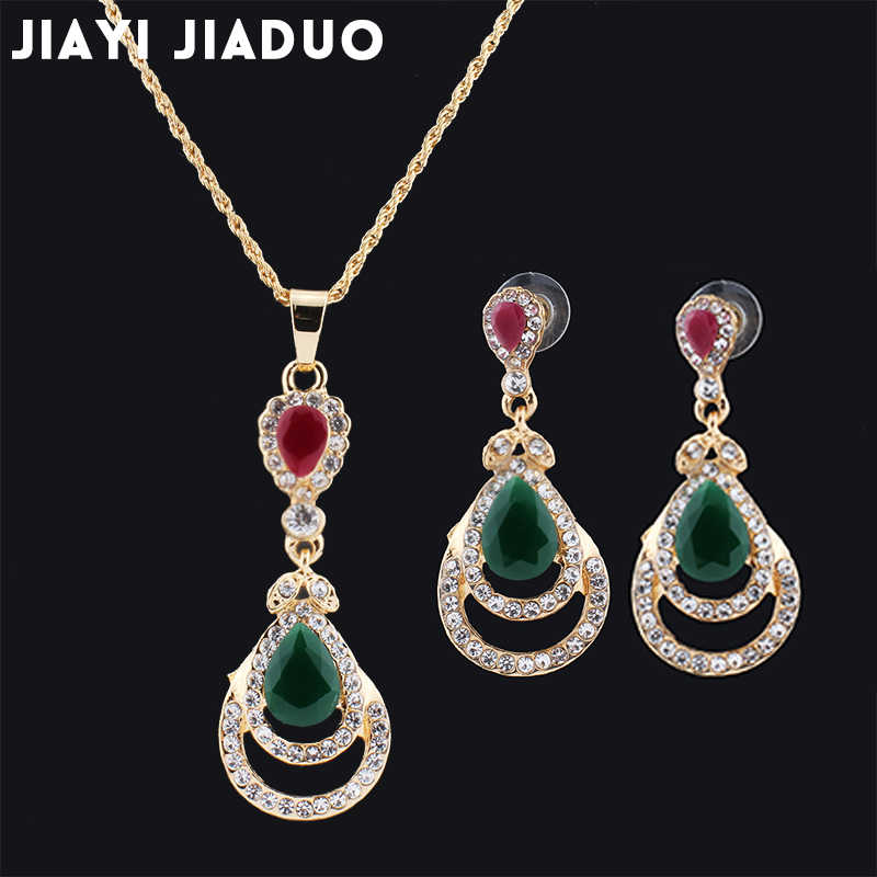 jiayi jiaduo Bridal jewelry  for women India vintage necklace earring Pendant gold-color Party love gift wedding Sets of jewelry