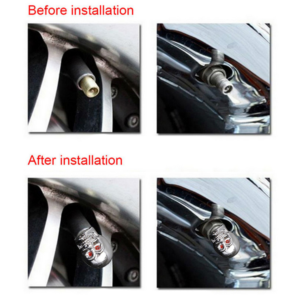 5 개 두개골 타이어 타이어 휠 자동차 자동 밸브 캡 - 자동차부품 - 사진 3