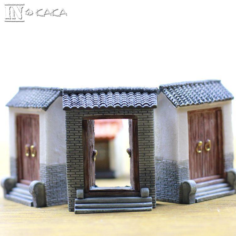 chino terrario ornamento resina casa puerta estatuilla modelo micro decoracin del jardn de