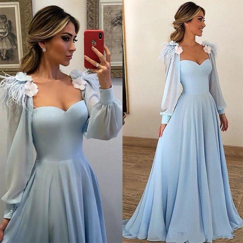 2019 bleu ciel poète manches longues robes de soirée formelles une ligne encolure carrée fleur en mousseline de soie longue fête robes de bal femmes fête