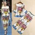 De dos piezas pantalones conjuntos con la cosecha 2017 primavera de Europa de la marca juego de la manera de las mujeres flor impreso camisa + retro totem pantalones pies trajes