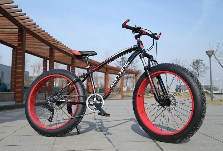 2015 newest 7 Speeds 26x4.0 Fat Tire Snow Bicicleta Mountain Bike Beach Bicycle Fat Bikes Bicicletas MTB Suspension Fork
