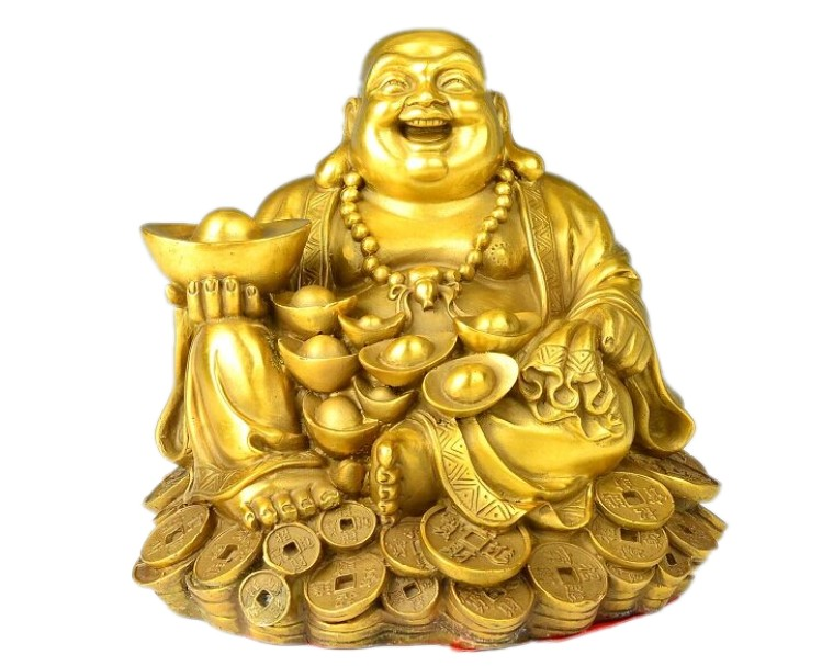 Maitreya copper Buddha Buddha gold ornaments money laugh living room feng shui lucky decoration.
