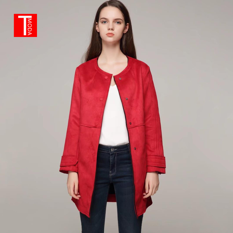 2018 New Arrial Brand Women Autumn Winter Suede Faux Leather Long Jackets Lady Fashion Matte Casual Red Coat Outerwear Hot Sale