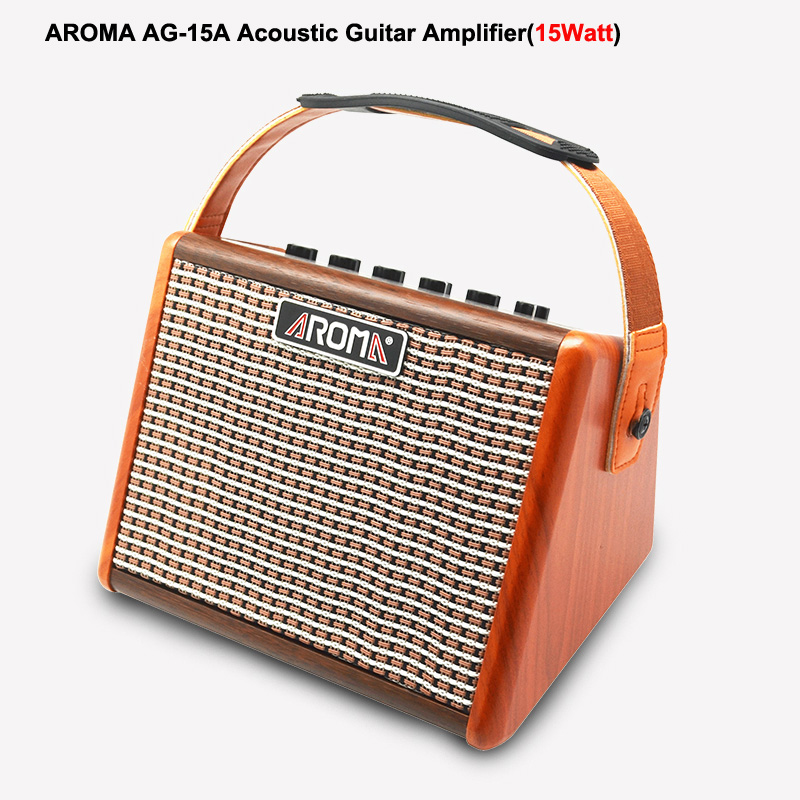AROMA AG 15A Acoustic Guitar Amplifier 15W Portable Amp with Microphone Interface BT Speaker Built in