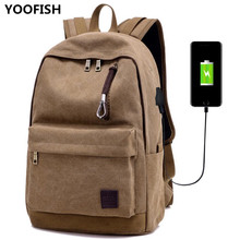 2020 New's unisex canvas backpack USB charging outdoor travel bag fashion trend leisure student bag XZ-179.
