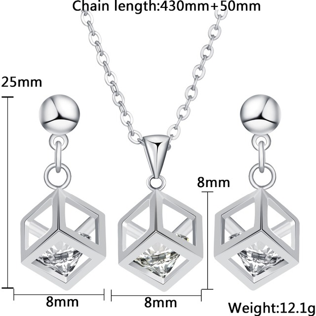 Women's Fashion Choker Cubic Zircon Pendant Necklace and Earrings Set