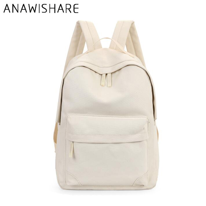 ANAWISHARE Women Canvas Backpacks Large School Bags For Teenagers Girls Casual Rucksack Laptop Bags Travel Bags Mochila Feminina