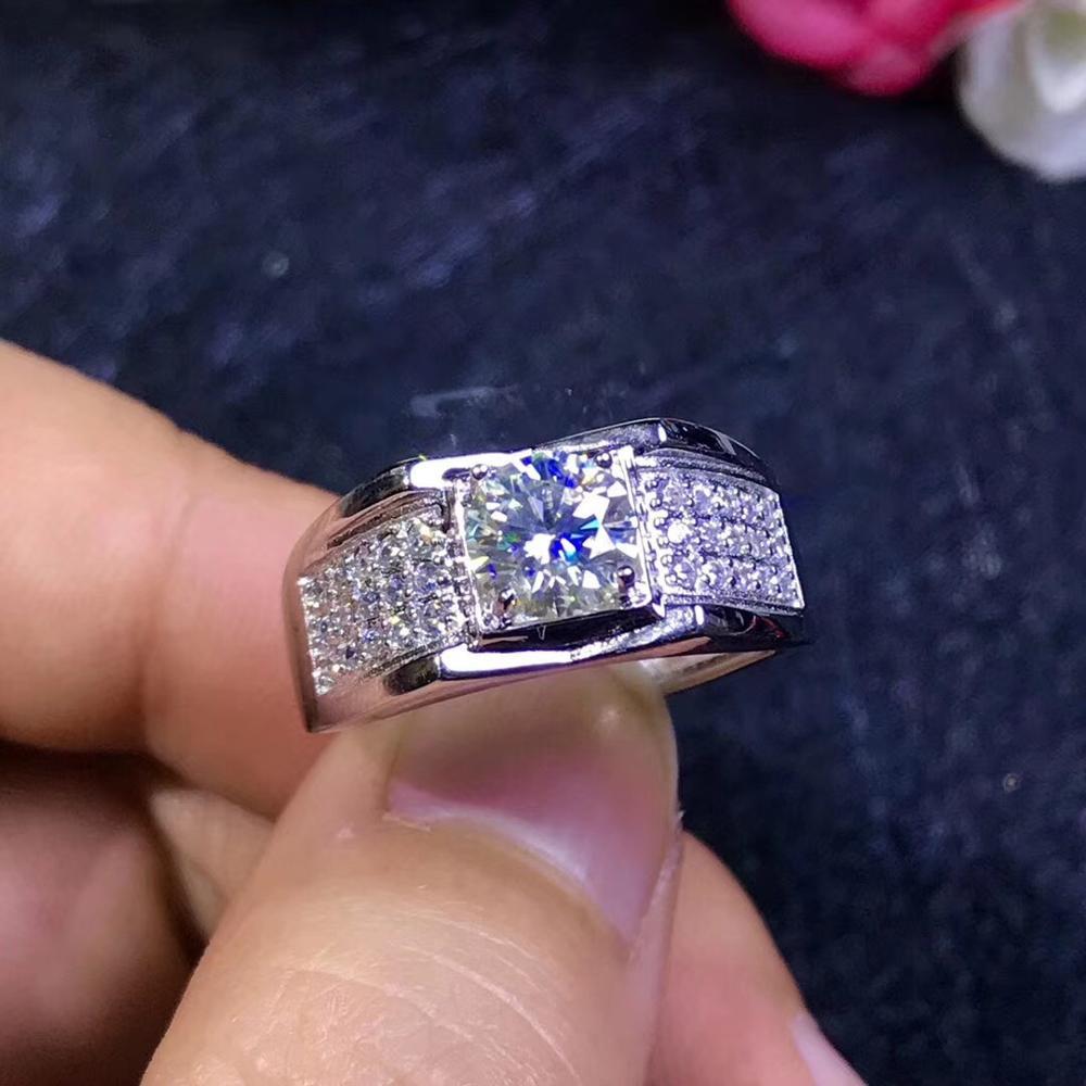 Мужские кольца Moissanite, популярные с драгоценными камнями, высокопрочные, сравнимые с алмазами. Серебро 925 пробы