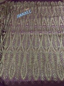 Image 2 - Na sprzedaż afrykańska francuska koronka siatkowa tkanina JIANXI.C 11867 dla sukienka na imprezę z klejonego brokat cekiny koronki tkaniny