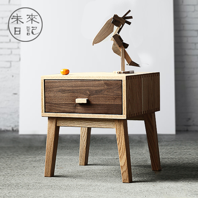 The future diary solid wood cabinets black walnut oak bedside cabinet magazine corner cabinet style simple & The future diary solid wood cabinets black walnut oak bedside ...