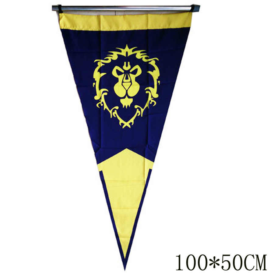 Świat Warcraft WOW sojusz horda Banner flaga Dacron niebieski czerwony wystrój domu Cosplay świat Warcraft akcesoria Cos Prop