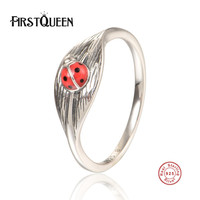 FirstQueen Genuine 100 925 Sterling Silver Leaf With Bettle Ring With Enamel For Women Wedding Jewelry