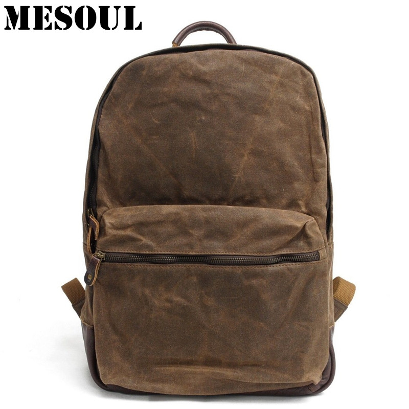 Large Capacity Military Backpack Youth Schoolbag Female Male Laptop Bag Vintage Casual Oil Wax Canvas Travel Waterproof Backpack men waterproof oil wax canvas bag retro casual male bag satchel business men s large capacity computer package