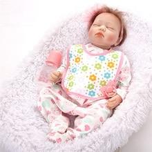 Dormir Fechado Os Olhos Bonecas de Silicone Renascer Baby Dolls Renascer Bebe Reborn Menina de Silicone Brinqudos SB5588 Brinquedos Do Miúdo Grils Presente