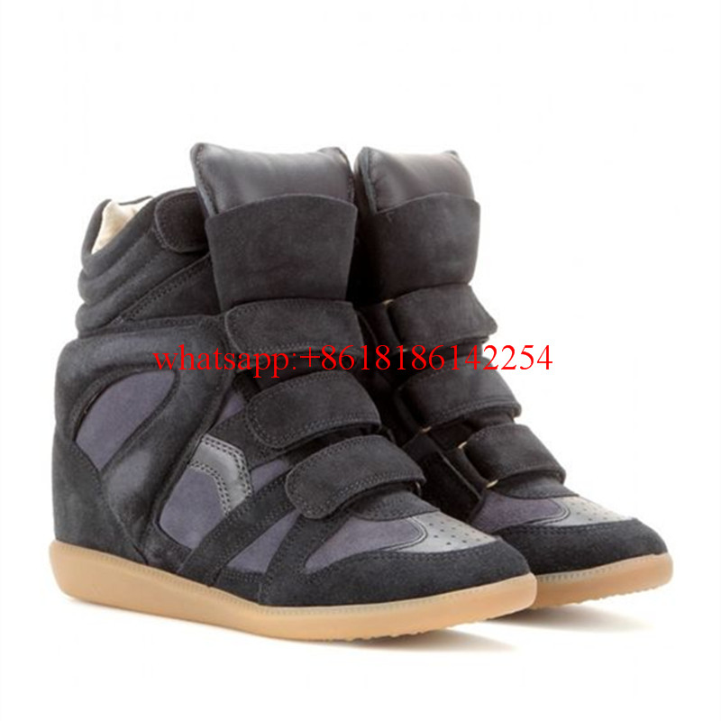 Super Star Brand Women High Top Boots Platform Wedge Height Increasing Shoes Casual Patchwork Soft Leather Shoes Spring/Autum