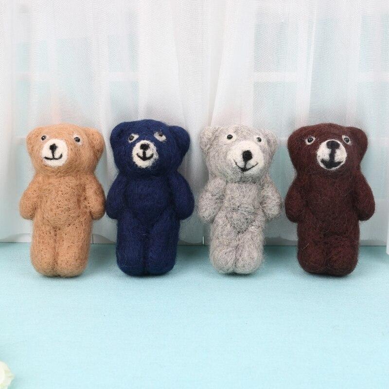 Newborn Photography Accessories Felt Knit Teddy Bear Infant Handmade Toy Props