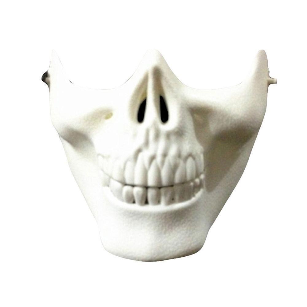 Vehemo костюм Хэллоуин вечерние Страйкбол Череп Маска Мотоцикл Скелет половина лица маски для активного отдыха Decro - Цвет: Белый