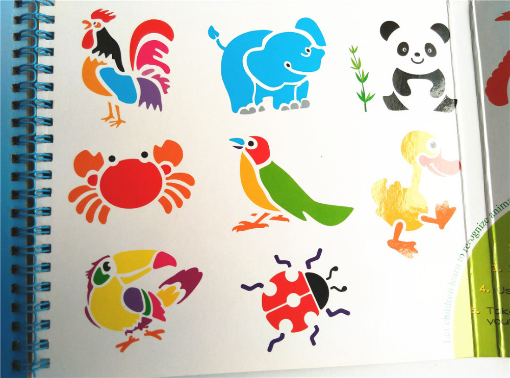 kids plastic stencils for painting book cartoon picture template for coloring animal dinosaur vehicles drawing toy - Kids Painting Book