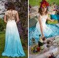 Новое Прибытие Совок-Линия Шифон Цвет Шнурка Свадебные Платья 2017 Развертки Поезд Vestidos De Novia Boho