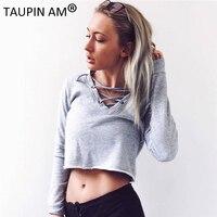 TAUPIN AM Grey Cotton Women Sweatshirts Autumn 2017 Lace Up V Neck Loose Sweatshirt Long Sleeve