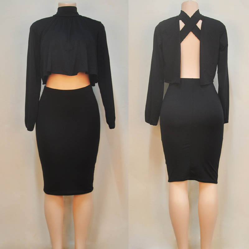 Women Two Piece Outfits 2 Piece Set Women Winter Bandage Dress Cloak  Backless Nightclub Bodycon Party Sexy Black Dresses-in Dresses from Women s  Clothing on ... ce8b7bd4f39f