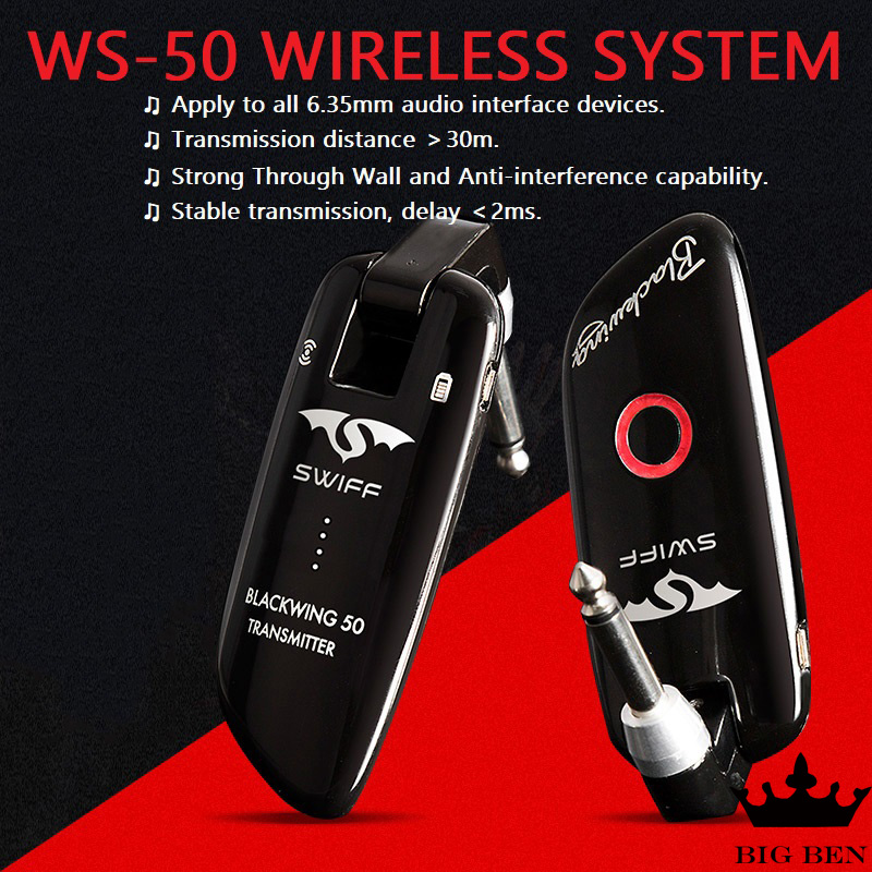 Système sans fil WS-50, gamme sans fil 50 m guitare électrique tambour électronique piano électrique dispositif sans fil jouant des pièces de compagnon