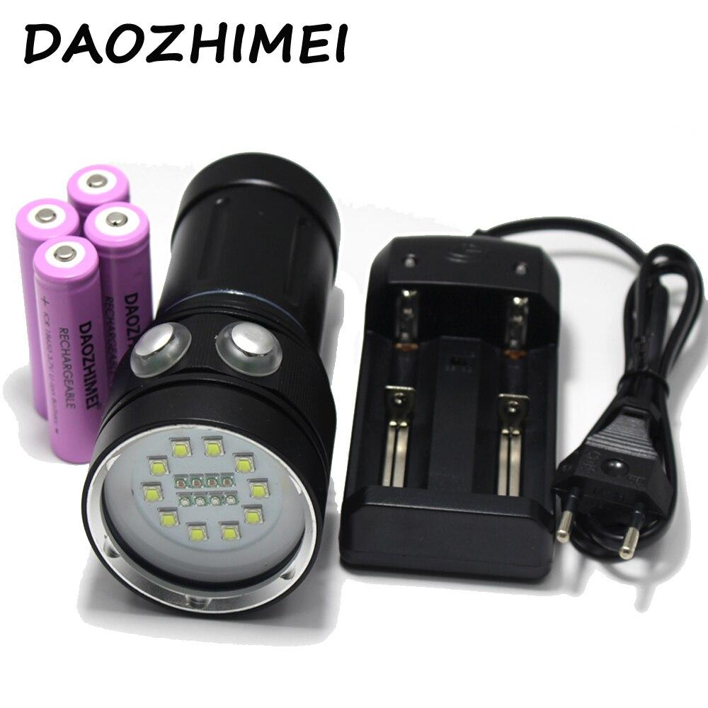 20000Lumen 10*XM-L2 LED White Light +4x Red Light+4x UV Light LED Torch Underwater Video Diving Flashlight+18650 Battery+Charger