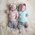 Moda Algodón NoEnName-Null Newborn Baby Toddler Girls Boy Con Capucha Tops Sudadera Pantalones 2 unids Trajes Set de Rayas