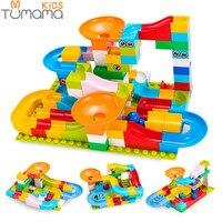 Tumama 52-208 шт. Мраморный трек Run шары лабиринты трек строительные блоки Воронка слайд большой размер Строительный кирпич Совместимость Legoed ...