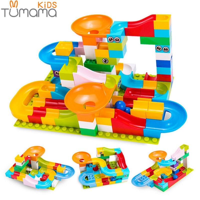 Tumama 52-208Pcs Marble Race Building Blocks Funnel Slide Big Building Brick Run Toys For Children