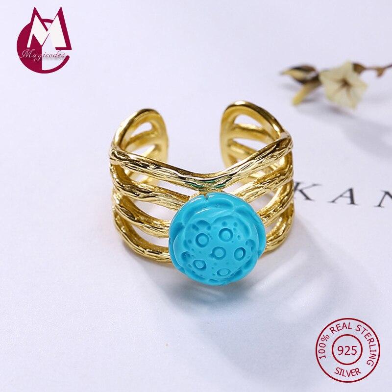 Incrusté pierre naturelle Turquoise Lotus Simple anneau réglable 100% 925 bijoux en argent Sterling 2019 femmes mariage amour anneau R26