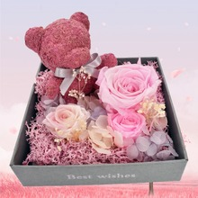 Beautiful Rose Pink Bear Preserved Decoration With Acrylic dome For Valentines Womens Day Gift