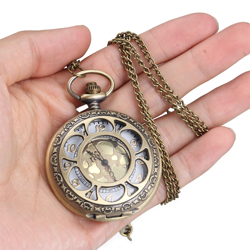 1pc Men Women Quartz Pocket Watch Floral Petal Carved Case With Chain LL@17