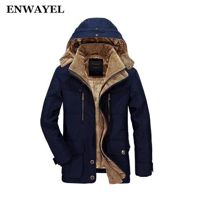 ENWAYEL Winter Thick Padded Parka Men Jacket Coat Russian Wadded ...