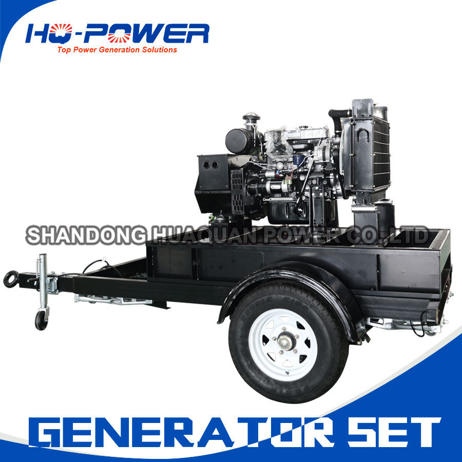 factory direct sale trailer 15kw open type diesel generator set