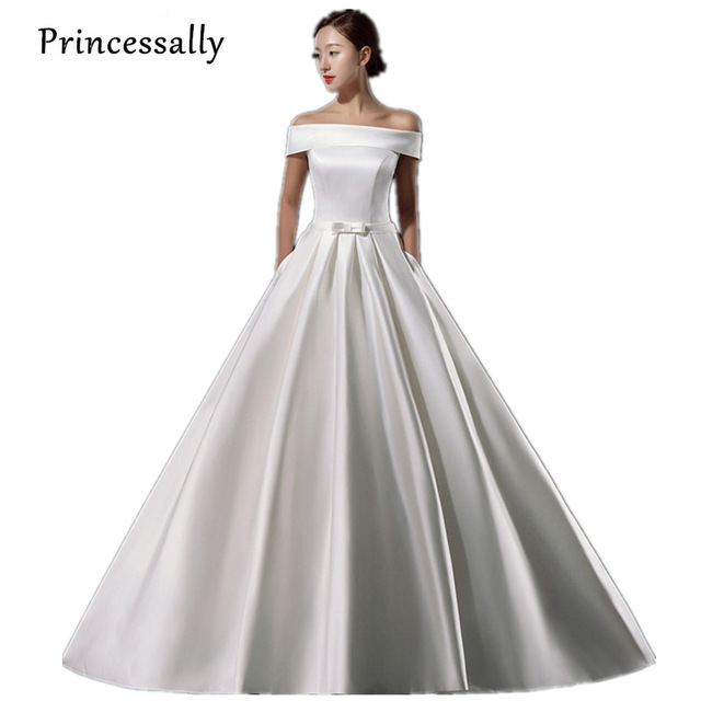 Simple Wedding Dress Elegant With Train Vintage Satin Boat Neck Robe ...