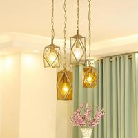 copper Lampshade Pendant Light Lamps Stained Glass Lights For Living Room Modern restaurant bar Decor led Pendant Lamp