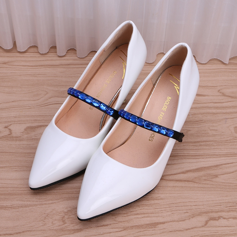 2017 Fashion New Faux Jewels Shoe Strings Strapped With Elastic Ropes For High Heels Anti Loose Black base Hot Women Shoelaces