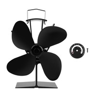 4 Blade Blower Fireplace Stove Heat Powered Stove Fan With Temperature Gauge Portable Fan Heat Distribution Kitchen Accessories