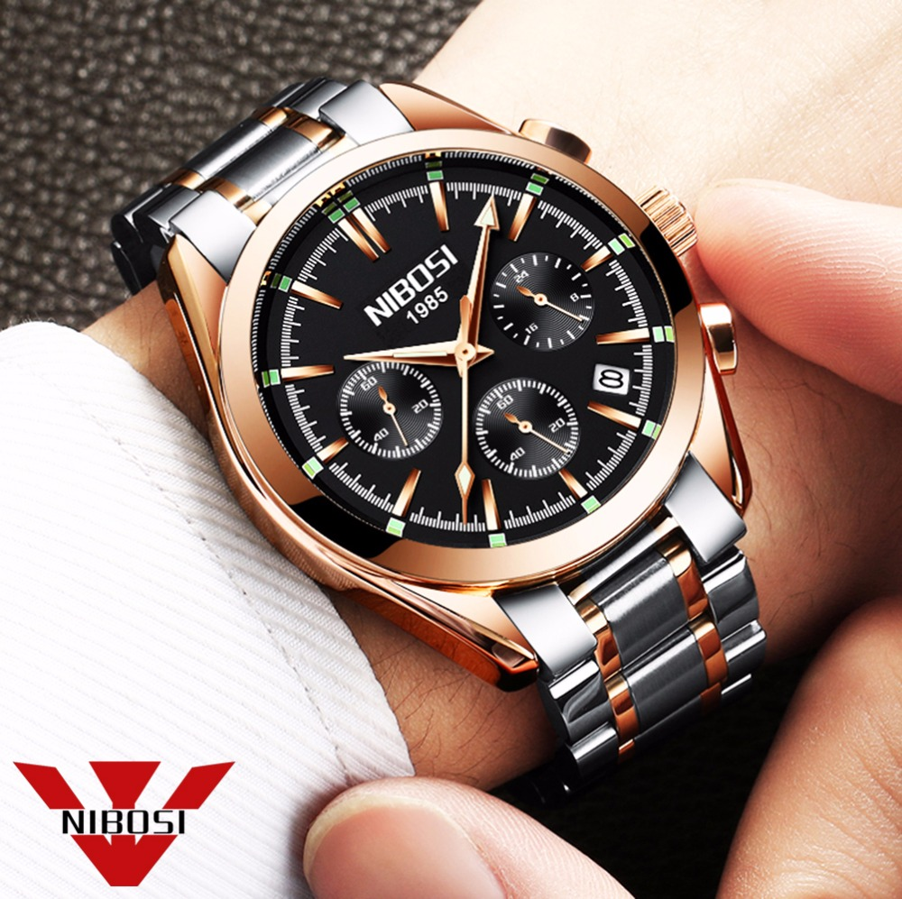 relogio masculino saat NIBOSI Men Watches Top Brand Luxury Fashion Business Quartz Watch Men Sport Metal Waterproof Wristwatches