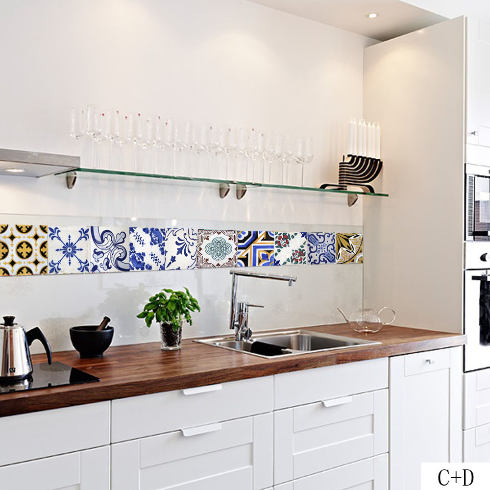 Pattern Retro Tile Sticker PVC Bathroom Kitchen Waterproof Wall ...