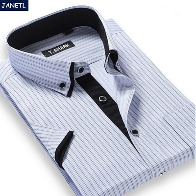 Camisa a rayas de los hombres de manga corta de hombres de la marca de clothing casual shirts camisa masculina ropa de hombre más tamaño camiseta corta de los hombres manga