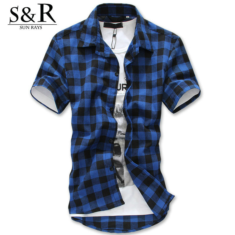 Casual flannel shirt men 2015 new autumn luxury plaid Short sleeve plaid shirts